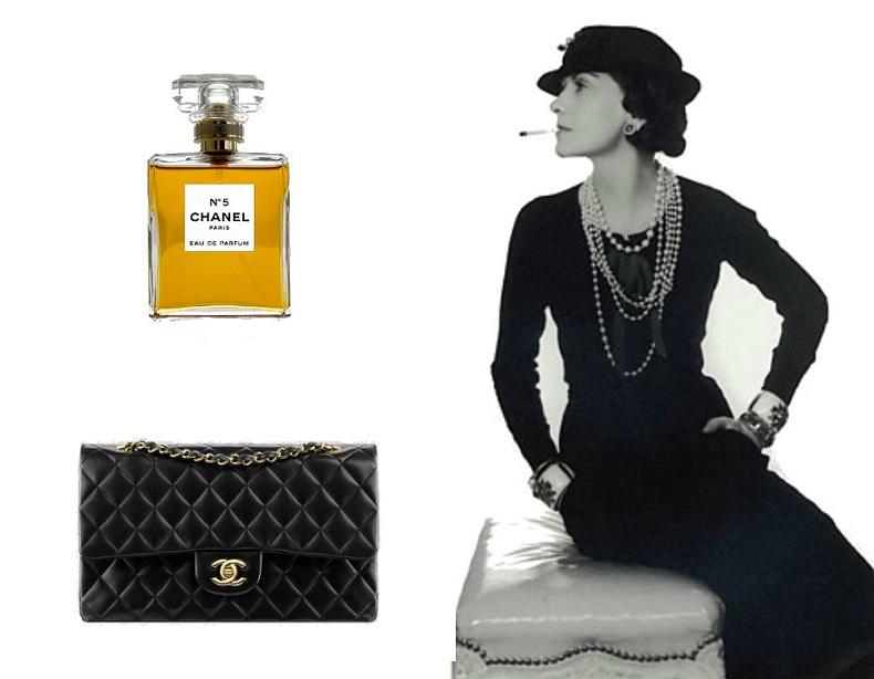 Słynne perfumy i torebka zaprojektowana przez Coco Chanel źródło: www.chanel.com, Arz/Wikimedia Commons, https://clipartfest.com/categories/view/cc0492118bff47ea33f79fccae7c488a708ae0e5/free-clipart-of-coco-chanel-little-black-dress.html,